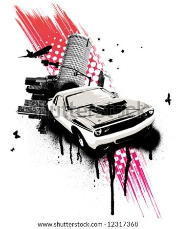 grunge pink car city
