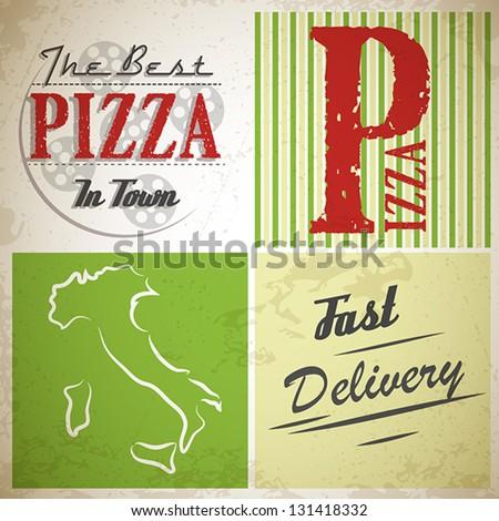 grunge pizza squares. pizza concept