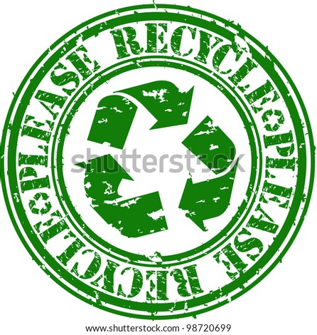Grunge please recycle rubber stamp, vector illustration