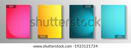 Grunge point perforated halftone cover page templates vector batch. Urban poster faded halftone backgrounds. Vintage manga comics style cover leaflets. Matrix elements.
