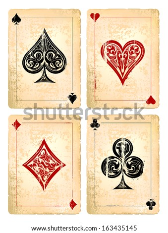 grunge poker cards vector set