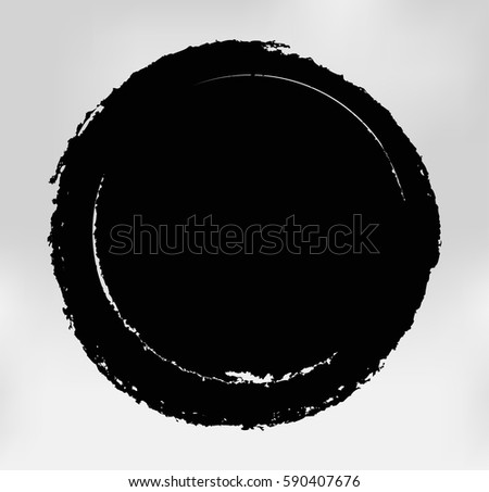 Grunge Post Stamp.Vector Distress Round Shape. #590407676