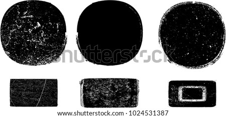 Grunge post Stamps Collection, Circles. Banners, Insignias , Logos, Icons, Labels and Badges Set . vector distress textures.blank shapes. #1024531387
