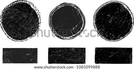 Grunge post Stamps Collection, Circles. Banners, Insignias , Logos, Icons, Labels and Badges Set . vector distress textures.blank shapes. #1085099888