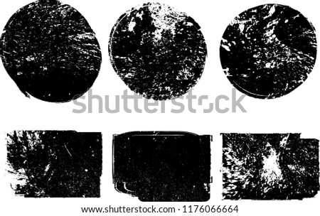 Grunge post Stamps Collection, Circles. Banners, Insignias , Logos, Icons, Labels and Badges Set . vector distress textures.blank shapes. #1176066664
