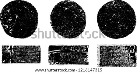 Grunge post Stamps Collection, Circles. Banners, Insignias , Logos, Icons, Labels and Badges Set . vector distress textures.blank shapes. #1216147315