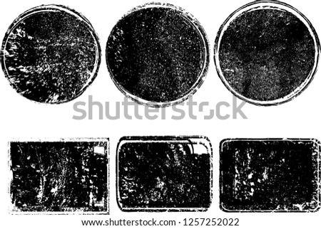 Grunge post Stamps Collection, Circles. Banners, Insignias , Logos, Icons, Labels and Badges Set . vector distress textures.blank shapes. #1257252022