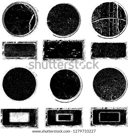 Grunge post Stamps Collection, Circles. Banners, Insignias , Logos, Icons, Labels and Badges Set . vector distress textures.blank shapes. #1279733227