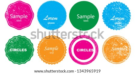 Grunge post Stamps Collection, Circles. Banners, Insignias , Logos, Icons, Labels and Badges Set . vector distress textures.blank shapes.