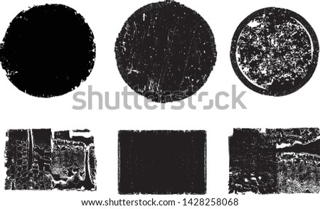 Grunge post Stamps Collection, Circles. Banners, Insignias , Logos, Icons, Labels and Badges Set . vector distress textures.blank shapes. #1428258068