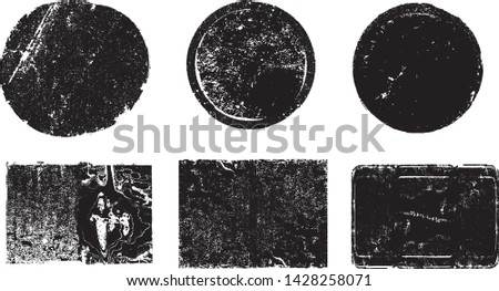 Grunge post Stamps Collection, Circles. Banners, Insignias , Logos, Icons, Labels and Badges Set . vector distress textures.blank shapes. #1428258071