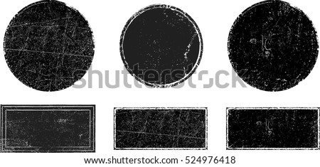 Grunge post Stamps Collection, Circles. Banners, Insignias , Logos, Icons, Labels and Badges Set . vector distress textures.blank shapes. #524976418