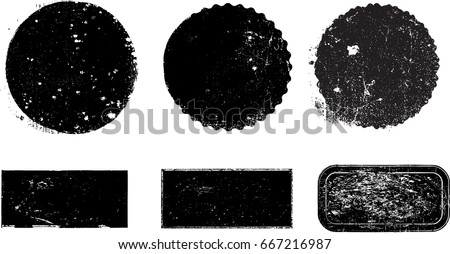 Grunge post Stamps Collection, Circles. Banners, Insignias , Logos, Icons, Labels and Badges Set . vector distress textures.blank shapes. #667216987