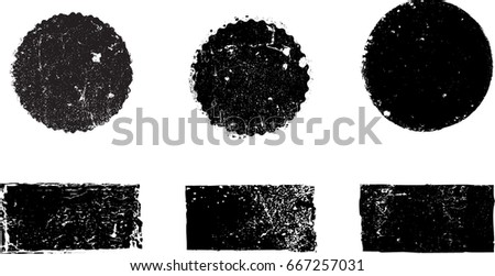 Grunge post Stamps Collection, Circles. Banners, Insignias , Logos, Icons, Labels and Badges Set . vector distress textures.blank shapes. #667257031