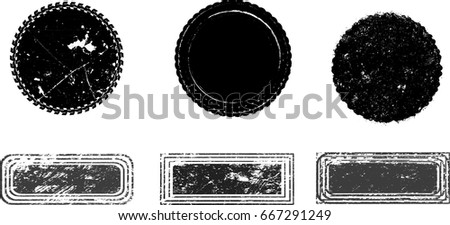 Grunge post Stamps Collection, Circles. Banners, Insignias , Logos, Icons, Labels and Badges Set . vector distress textures.blank shapes. #667291249