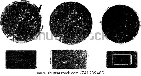 Grunge post Stamps Collection, Circles. Banners, Insignias , Logos, Icons, Labels and Badges Set . vector distress textures.blank shapes. #741239485