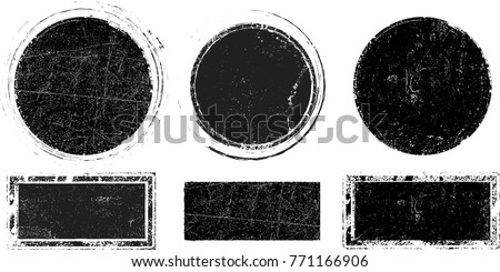Grunge post Stamps Collection, Circles. Banners, Insignias , Logos, Icons, Labels and Badges Set . vector distress textures.blank shapes. #771166906