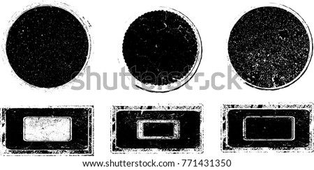 Grunge post Stamps Collection, Circles. Banners, Insignias , Logos, Icons, Labels and Badges Set . vector distress textures.blank shapes. #771431350