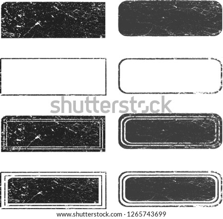 Grunge post Stamps Collection, rectangles . Banners, Insignias , Logos, Icons, Labels and Badges Set . vector distress textures.blank shapes.
