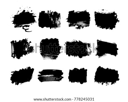 Grunge post Stamps Collection, rectangles . Banners, Insignias , Logos, Icons, Labels and Badges Set . vector distress textures.blank shapes. scribbles #778245031