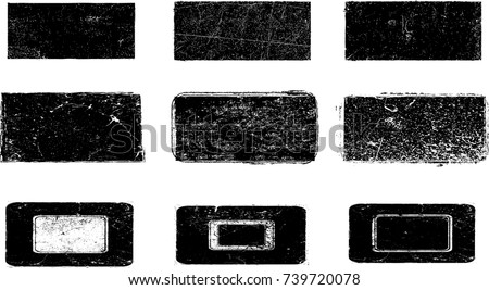 Grunge post Stamps Collection, rectangles. Banners, Insignias , Logos, Icons, Labels and Badges Set . vector distress textures.blank shapes.