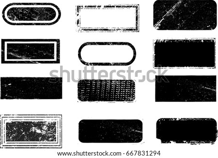 Grunge post Stamps Collection, Rectangles, squares, frames . . Banners, Insignias , Logos, Icons, Labels and Badges Set . vector distress textures.blank shapes.