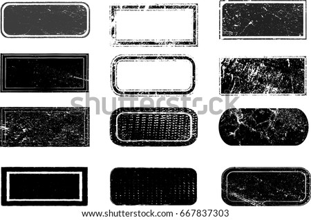 Grunge post Stamps Collection,  Squares , rectangles, frames. Banners, Insignias , Logos, Icons, Labels and Badges Set . vector distress textures.blank shapes.
