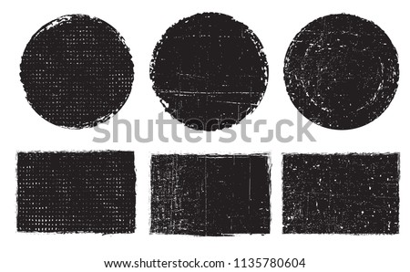 Grunge post stamps .Vector distress blank shapes. #1135780604