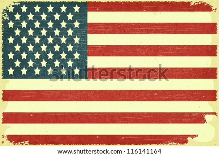 Grunge poster - American Flag in Retro style - Vector illustration