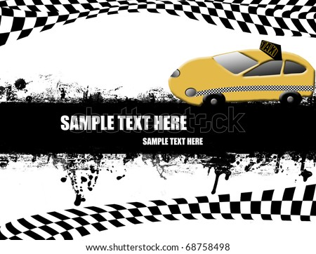 Grunge  poster with orange taxi on black and white,vector illustration