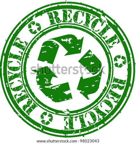Grunge recycle rubber stamp, vector illustration - stock vector