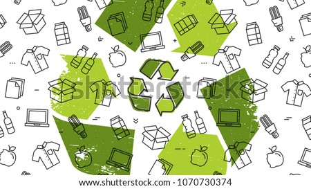 Grunge recycle sign with recyclable products vector illustration. Recyclable things to reuse: clothes, lamp, cardboard box, electronics, bottles, food, paper, etc.