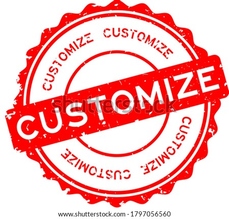 Grunge red customize word round rubber seal stamp on white background ストックフォト ©