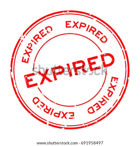 Grunge red expired round rubber seal stamp on white background