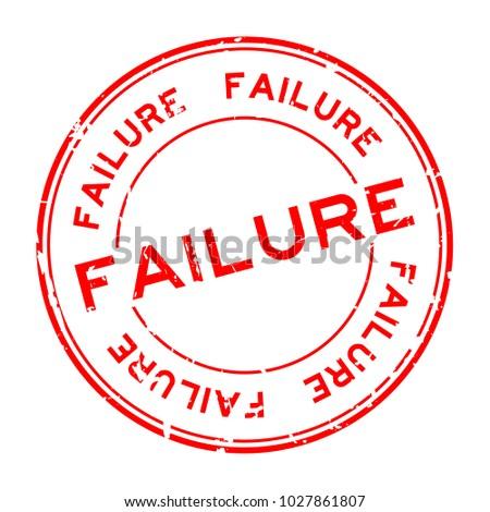 grunge red failure word round