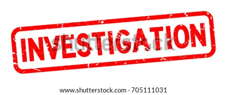Grunge red investigation square rubber seal stamp on white background