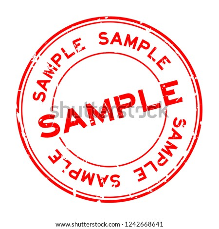 Grunge red sample word round rubber seal stamp on white background