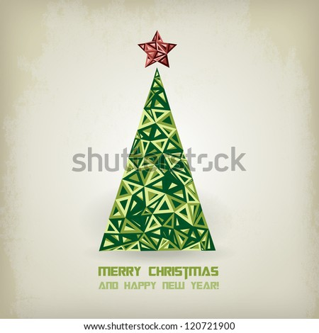 Grunge retro  Christmas tree