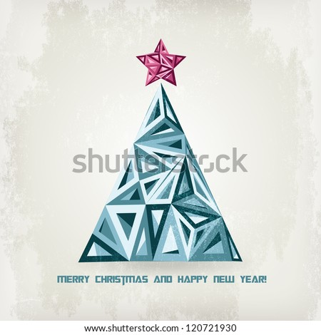 Grunge retro  Christmas tree. Low Poly
