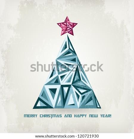 Grunge retro  Christmas tree. Low Poly