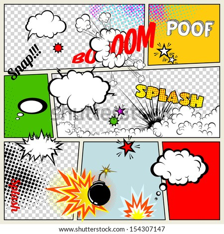 Grunge Retro Comic Speech Bubbles. Vector Illustration on Strip Background. Abstract Talking Clouds and Sounds.