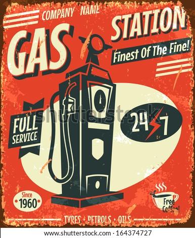 grunge retro gas station sign....
