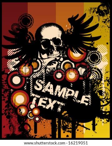 grunge retro skull poster