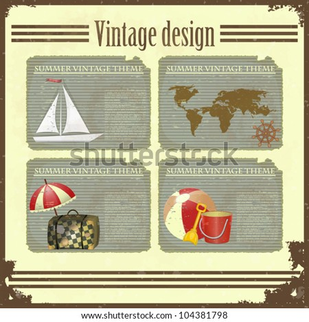 Grunge retro Vintage card - marine Travel set - Summer vacation - vector illustration