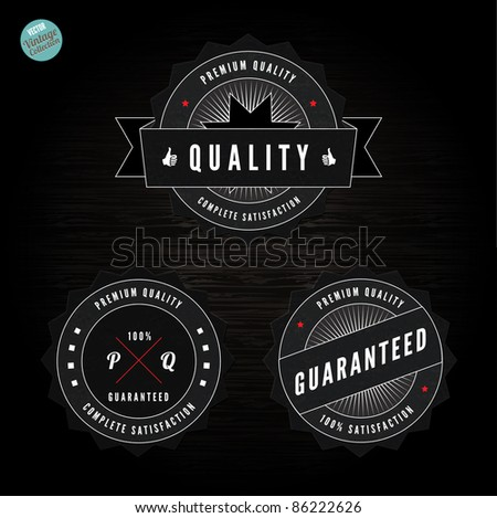 Grunge Retro Vintage Styled collection of  Premium Quality and Satisfaction Guaranteed labels  with wood vector background - stock vector
