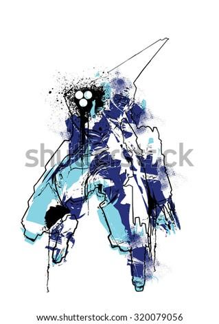 grunge robot mech warrior
