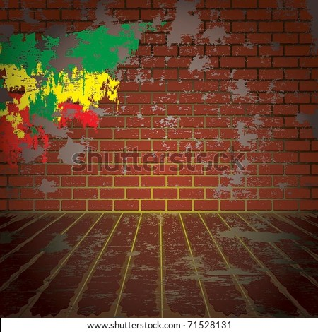 grunge room with brick wall
