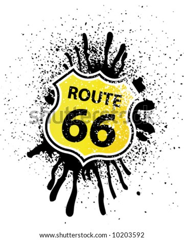 Grunge Route 66 Shield shaped Sign