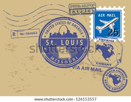 grunge rubber post stamps set