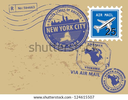 Grunge rubber post stamps set with name of New York, New York City, vector illustration